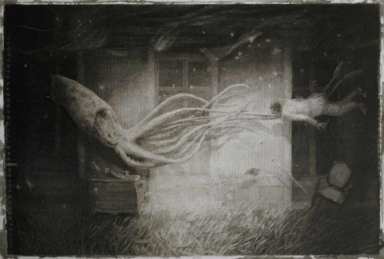 'Man and Squid', 2016, ett konstverk av Jonas Brandin