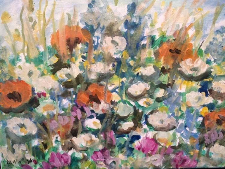 'Blomstermotiv', 2019, ett konstverk av Harald Norrby