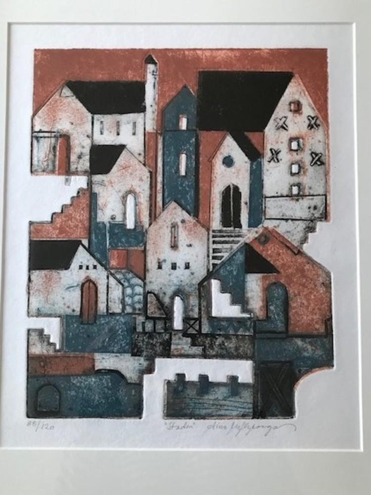 'Staden - collografi 38x45 cm', 2020, ett konstverk av Aino Myllykangas