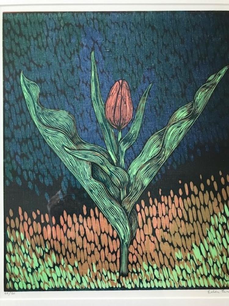 'Tulpan - träsnitt 41x48 cm', 2020, ett konstverk av Peter Ern