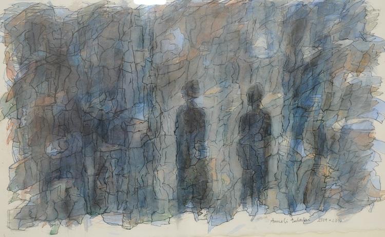 'Akvarell/tusch', 2019, ett konstverk av Anneli Ersbacken