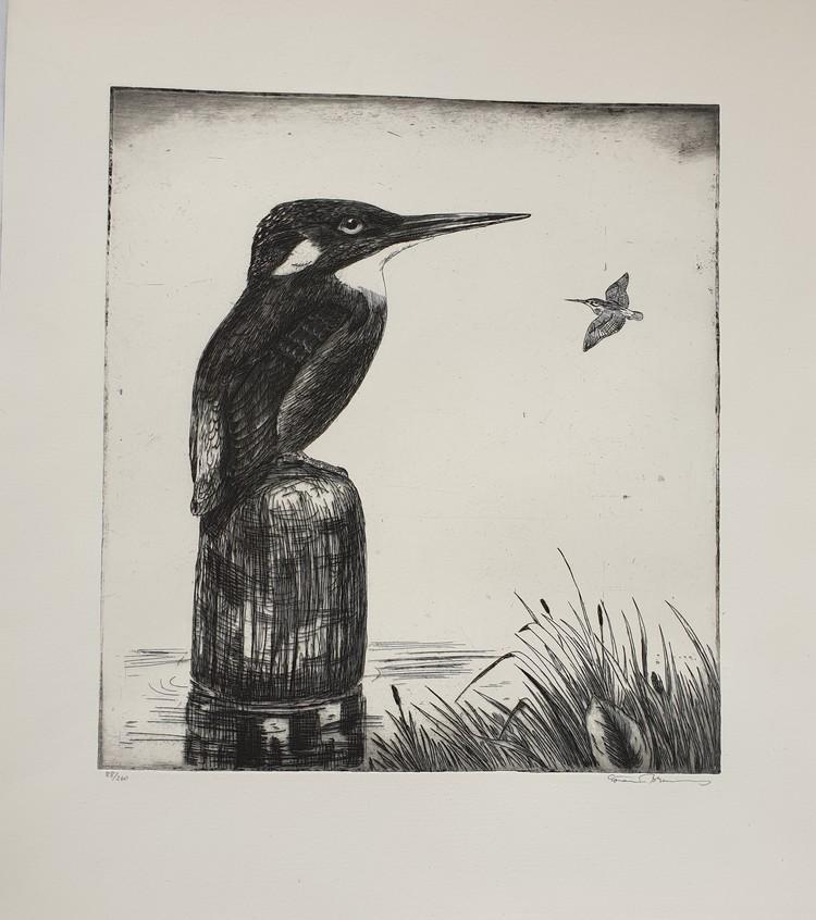 'Kungsfiskare', 2019, ett konstverk av Göran Brunius