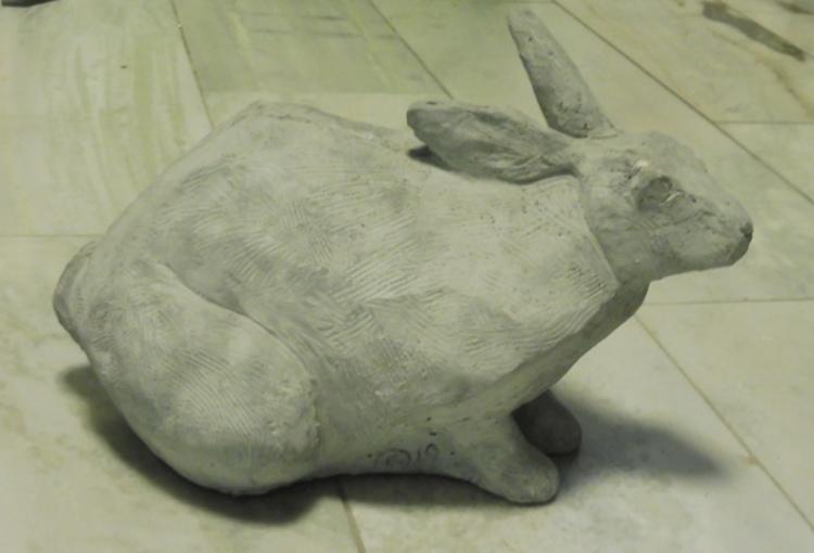 '33. Hoppande hare', 2020, ett konstverk av Cecilia Stärner