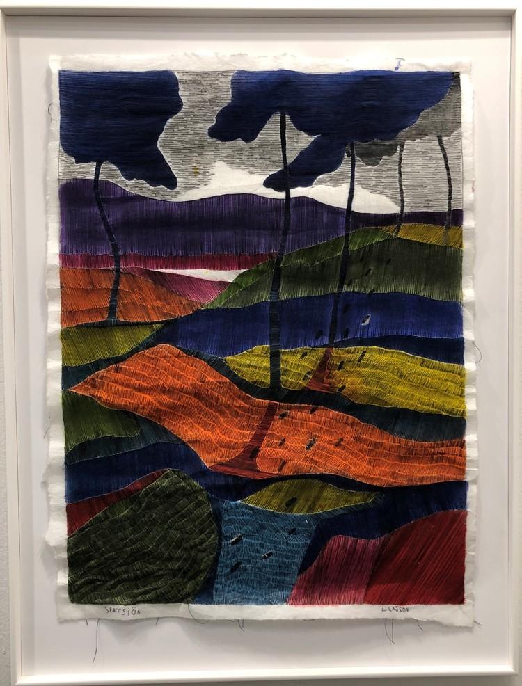 'Svart tråd, broderi', ett konstverk av Linda Lasson